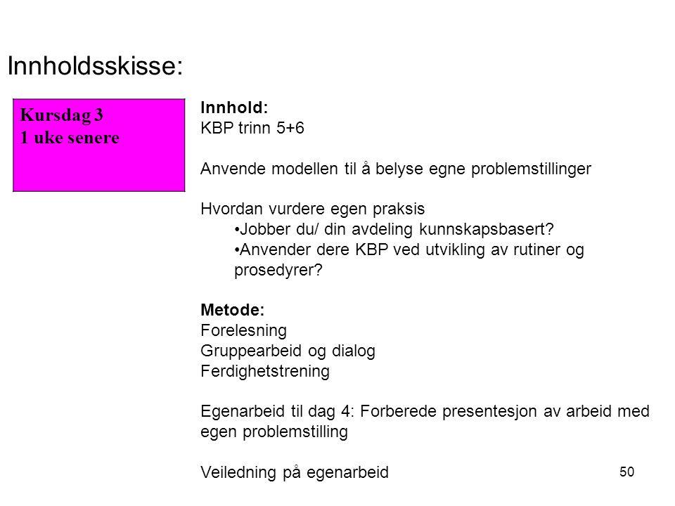 50 Kursdag 3 1 uke senere Innholdsskisse: Innhold: KBP trinn 5+6 Anvende modellen til å belyse egne problemstillinger Hvordan vurdere egen praksis Jobber du/ din avdeling kunnskapsbasert.