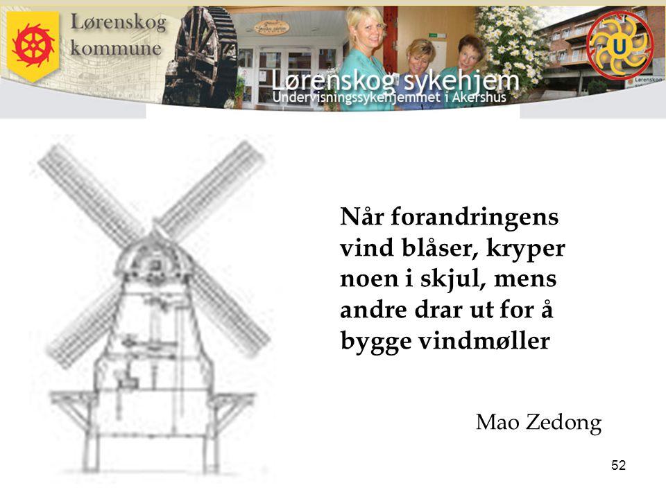 52 Når forandringens vind blåser, kryper noen i skjul, mens andre drar ut for å bygge vindmøller Mao Zedong