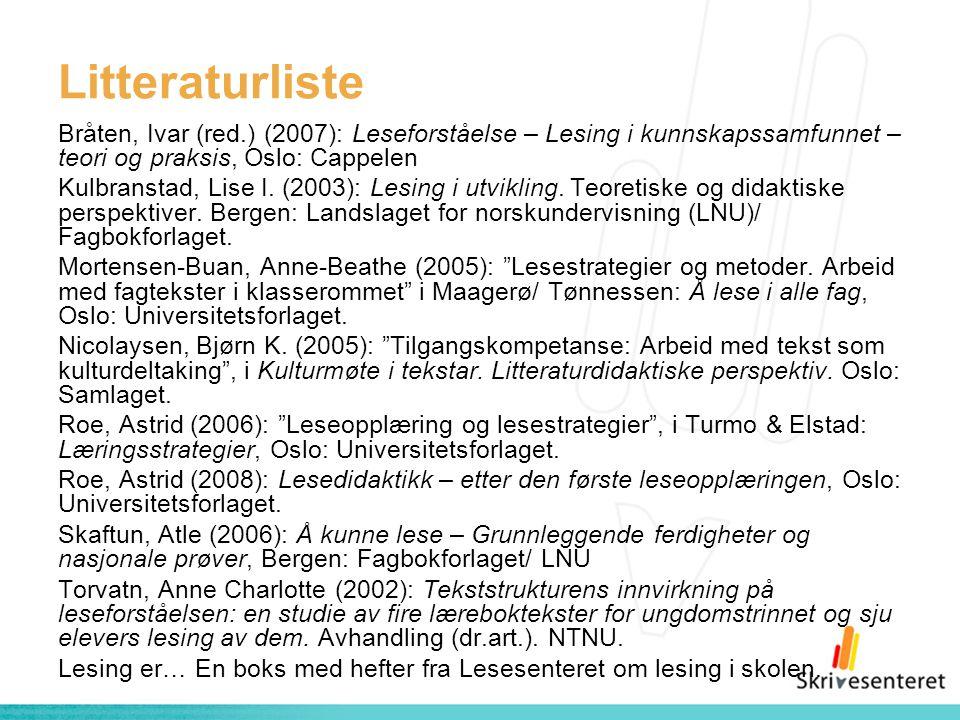 Litteraturliste Bråten, Ivar (red.) (2007): Leseforståelse – Lesing i kunnskapssamfunnet – teori og praksis, Oslo: Cappelen Kulbranstad, Lise I. (2003