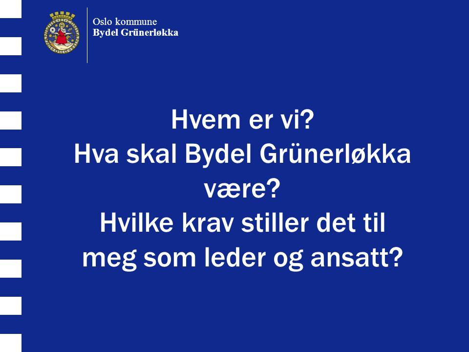 Hvem er vi.Hva skal Bydel Grünerløkka være. Hvilke krav stiller det til meg som leder og ansatt.