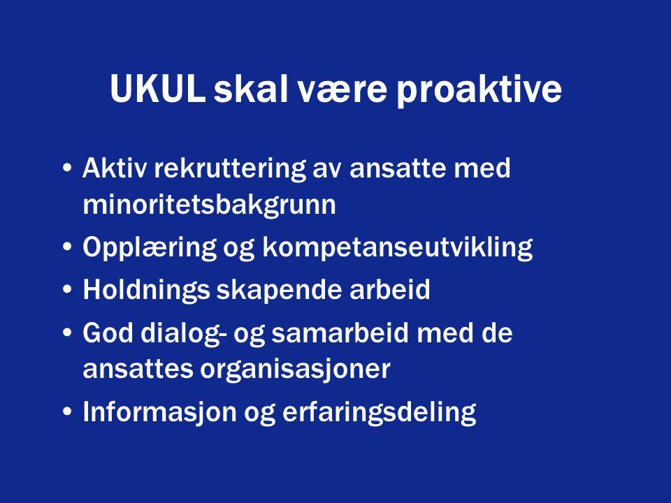 UKUL skal være proaktive Aktiv rekruttering av ansatte med minoritetsbakgrunn Opplæring og kompetanseutvikling Holdnings skapende arbeid God dialog- og samarbeid med de ansattes organisasjoner Informasjon og erfaringsdeling