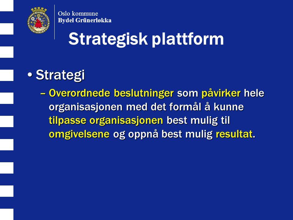 Strategisk plattform StrategiStrategi –Overordnede beslutninger som påvirker hele organisasjonen med det formål å kunne tilpasse organisasjonen best mulig til omgivelsene og oppnå best mulig resultat.