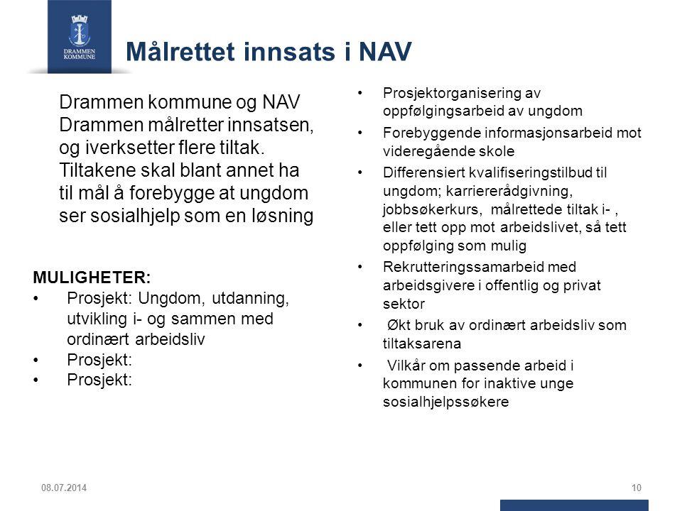 Målrettet innsats i NAV Drammen kommune og NAV Drammen målretter innsatsen, og iverksetter flere tiltak. Tiltakene skal blant annet ha til mål å foreb