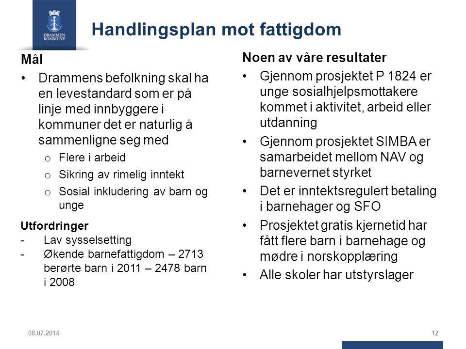 Handlingsplan mot fattigdom Mål Drammens befolkning skal ha en levestandard som er på linje med innbyggere i kommuner det er naturlig å sammenligne se