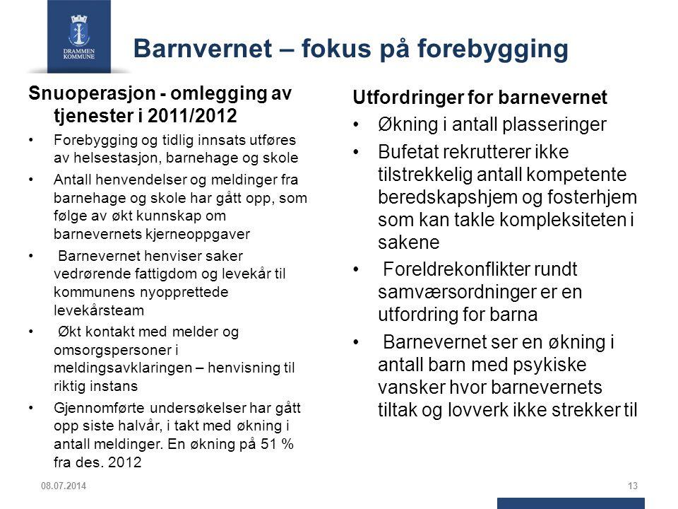Barnvernet – fokus på forebygging Snuoperasjon - omlegging av tjenester i 2011/2012 Forebygging og tidlig innsats utføres av helsestasjon, barnehage o