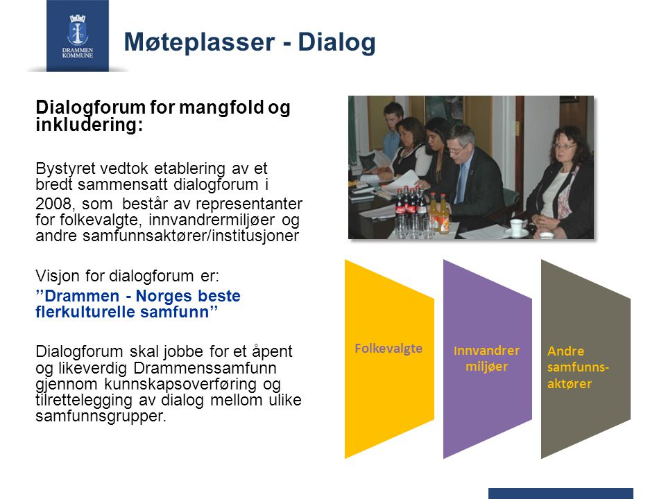 Møteplasser - Dialog Dialogforum for mangfold og inkludering: Bystyret vedtok etablering av et bredt sammensatt dialogforum i 2008, som består av repr