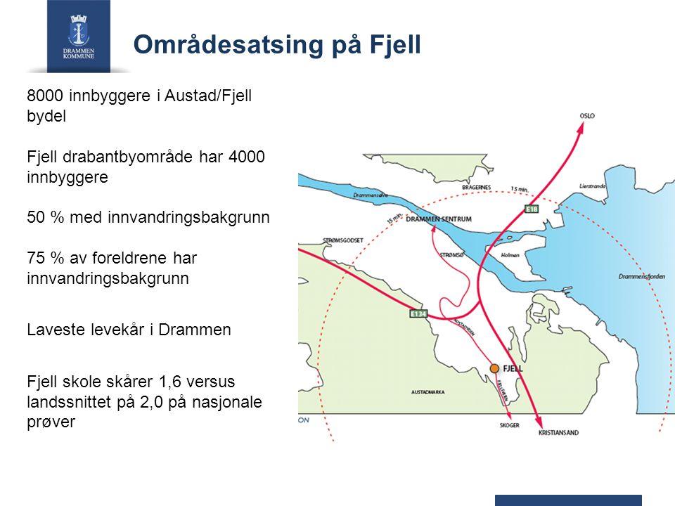 Områdesatsing på Fjell 8000 innbyggere i Austad/Fjell bydel Fjell drabantbyområde har 4000 innbyggere 50 % med innvandringsbakgrunn 75 % av foreldrene