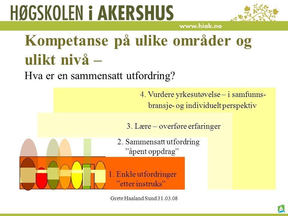 Grete Haaland Sund 31.03.08 Kompetanse på ulike områder og ulikt nivå – Hva er en sammensatt utfordring.