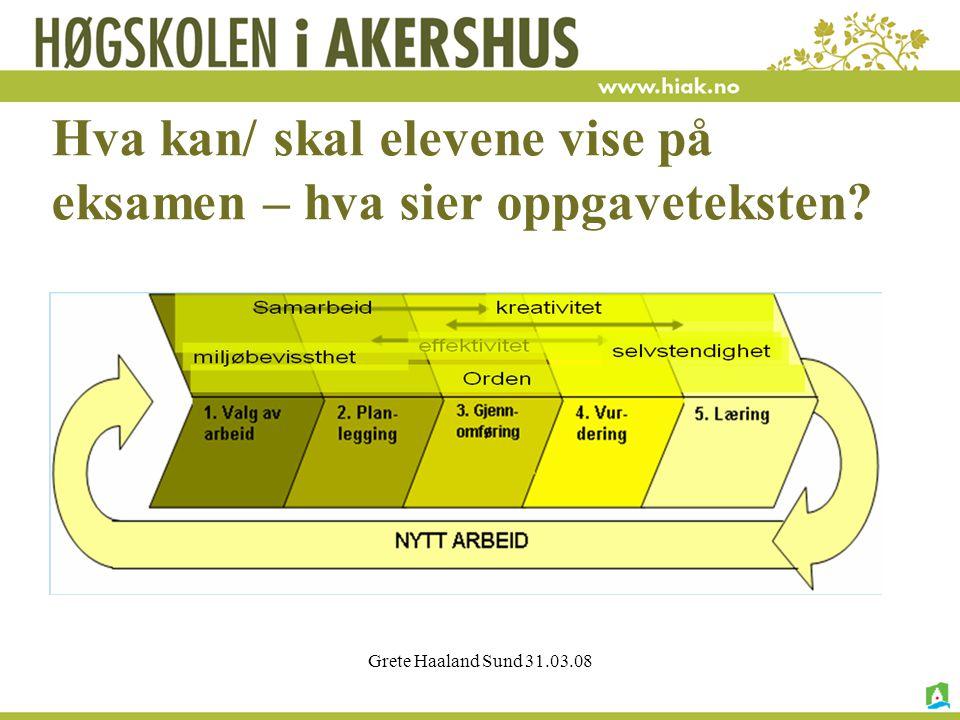 Grete Haaland Sund 31.03.08 Hva kan/ skal elevene vise på eksamen – hva sier oppgaveteksten?