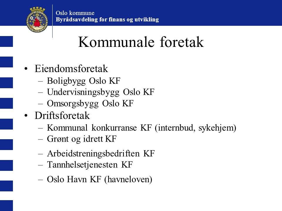 Oslo kommune Byrådsavdeling for finans og utvikling Kommunale foretak Eiendomsforetak –Boligbygg Oslo KF –Undervisningsbygg Oslo KF –Omsorgsbygg Oslo