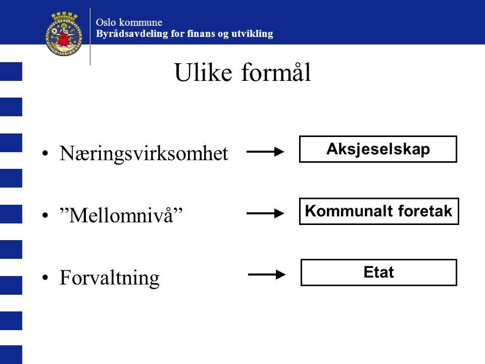 Oslo kommune Byrådsavdeling for finans og utvikling Bruk av KF Avveining mellom grad av nærings-virksomhet og behov for politisk kontroll –Profittformål eller målkonflikter.