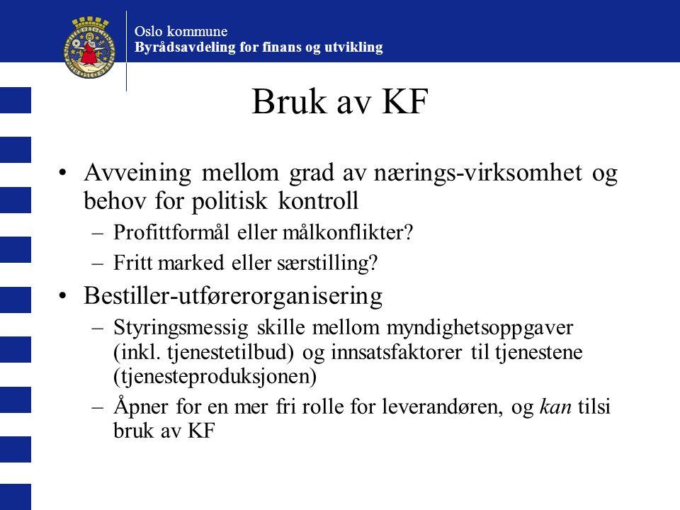 Oslo kommune Byrådsavdeling for finans og utvikling Bruk av KF Avveining mellom grad av nærings-virksomhet og behov for politisk kontroll –Profittform