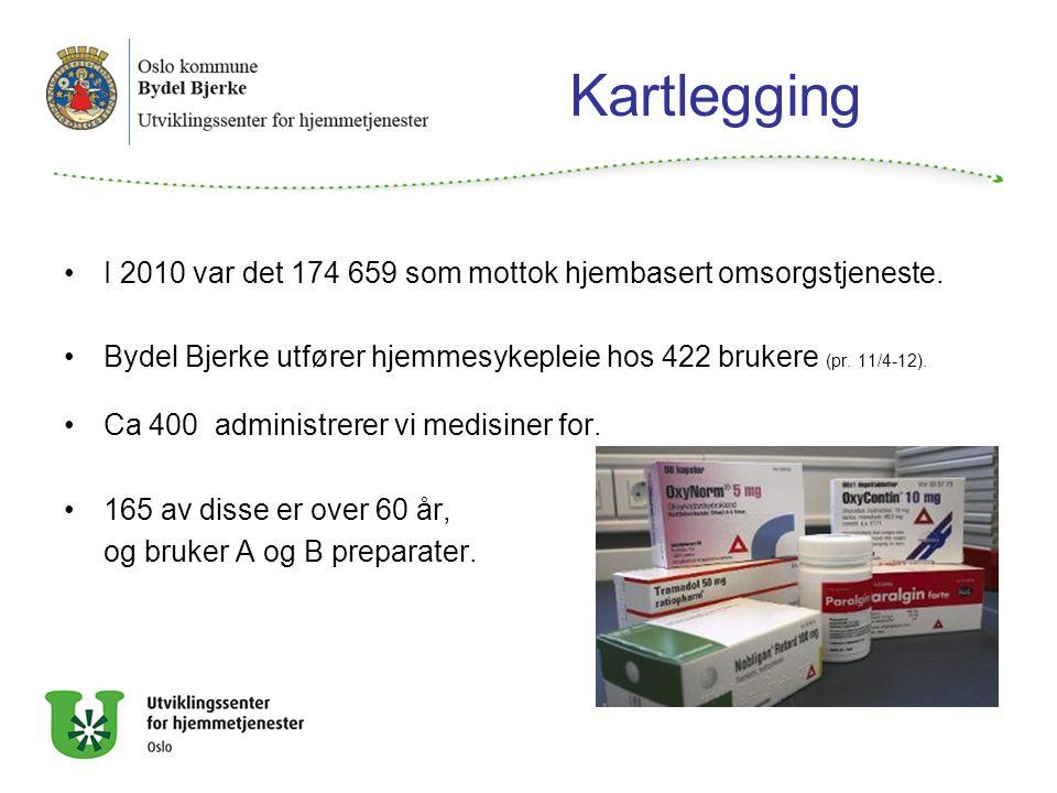 Kartlegging I 2010 var det 174 659 som mottok hjembasert omsorgstjeneste. Bydel Bjerke utfører hjemmesykepleie hos 422 brukere (pr. 11/4-12). Ca 400 a