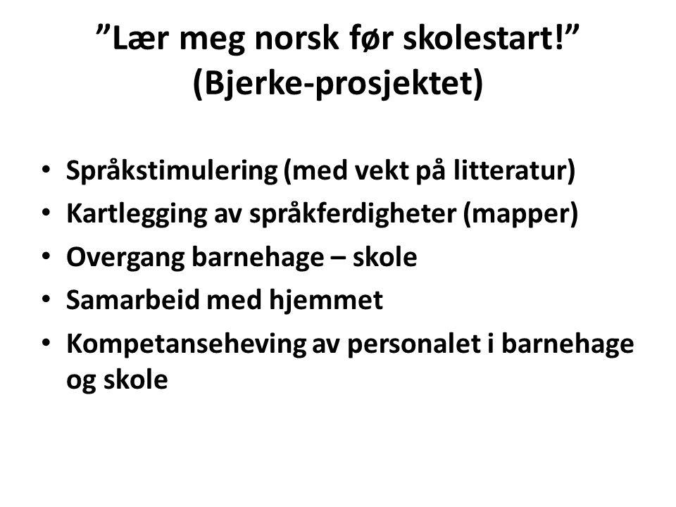 """""""Lær meg norsk før skolestart!"""" (Bjerke-prosjektet) Språkstimulering (med vekt på litteratur) Kartlegging av språkferdigheter (mapper) Overgang barneh"""