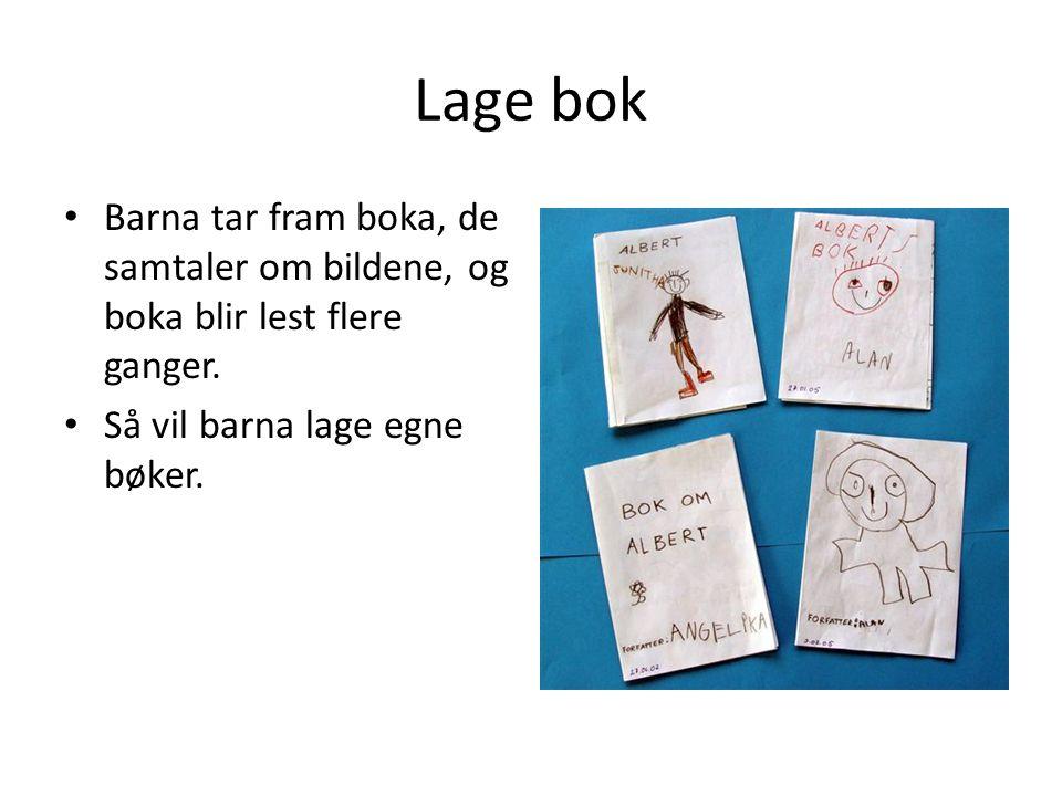 Lage bok Barna tar fram boka, de samtaler om bildene, og boka blir lest flere ganger. Så vil barna lage egne bøker.
