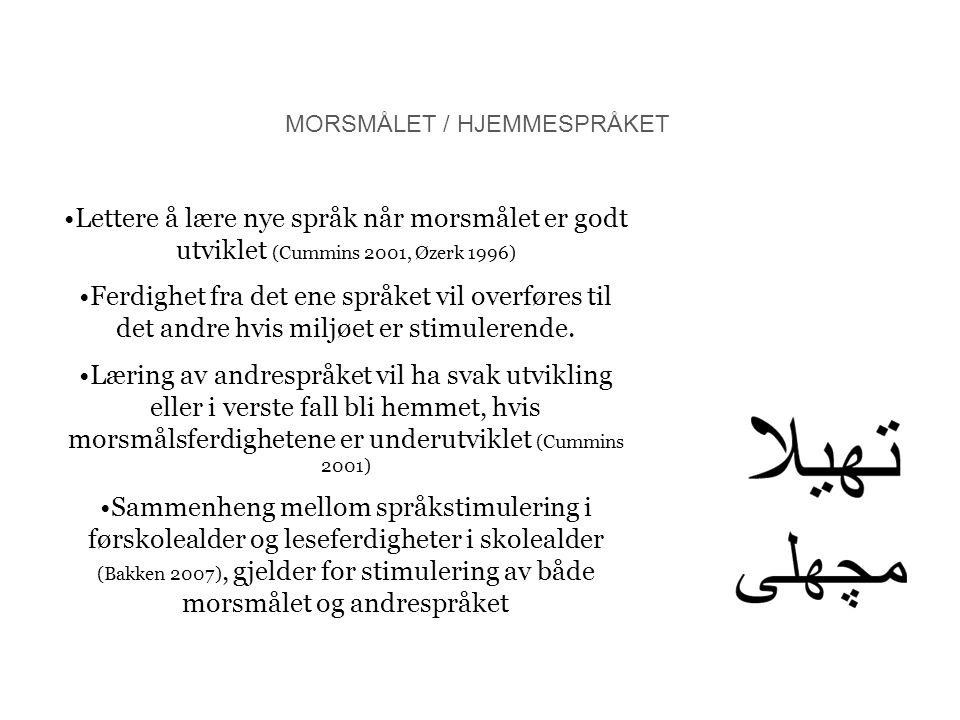 MORSMÅLET / HJEMMESPRÅKET Lettere å lære nye språk når morsmålet er godt utviklet (Cummins 2001, Øzerk 1996) Ferdighet fra det ene språket vil overfør