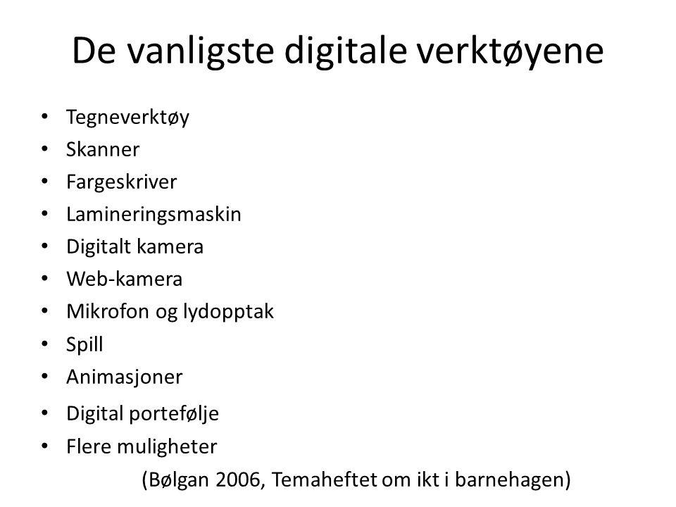 De vanligste digitale verktøyene Tegneverktøy Skanner Fargeskriver Lamineringsmaskin Digitalt kamera Web-kamera Mikrofon og lydopptak Spill Animasjone