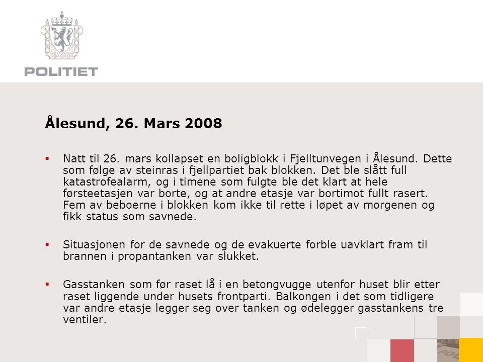 Ålesund, 26.Mars 2008  Natt til 26. mars kollapset en boligblokk i Fjelltunvegen i Ålesund.