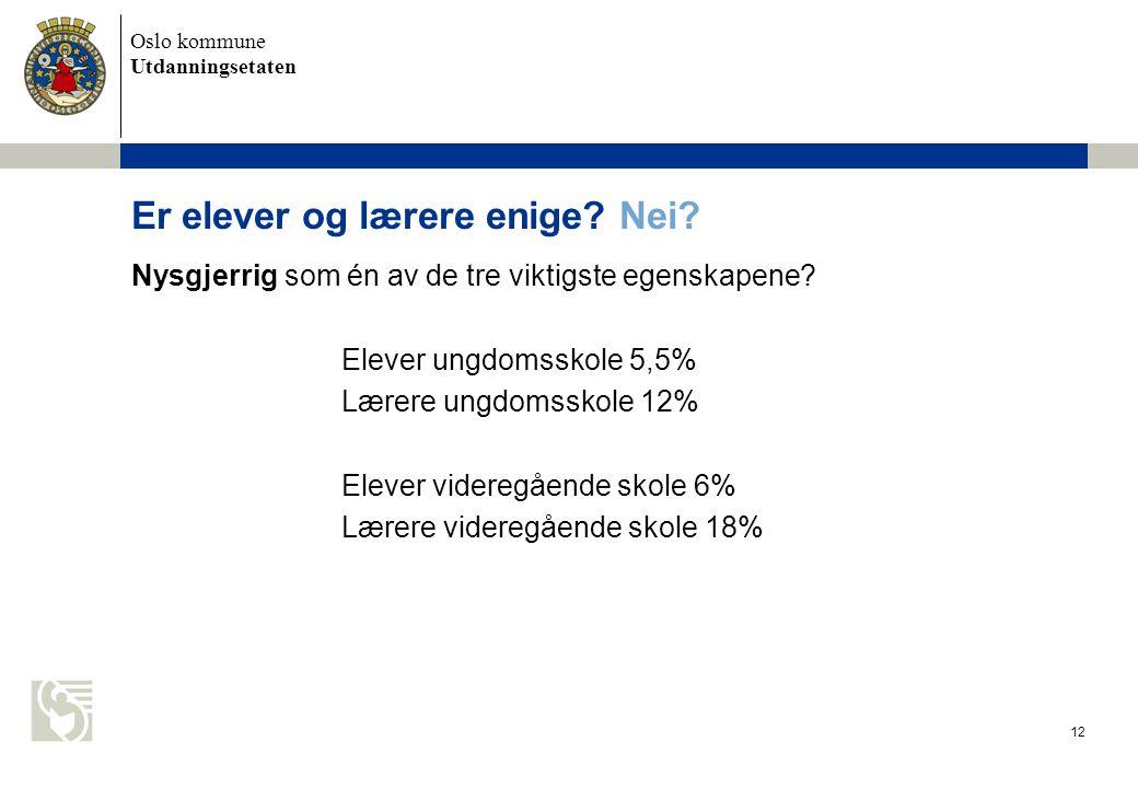 Oslo kommune Utdanningsetaten 13 Andre forskjeller.