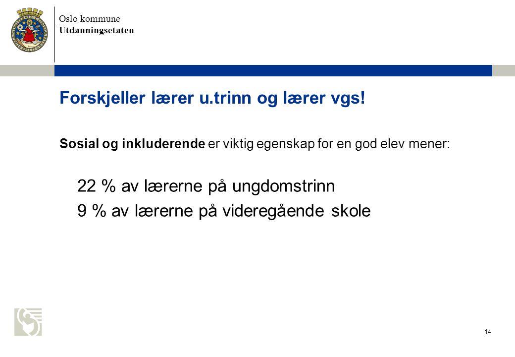 Oslo kommune Utdanningsetaten 14 Forskjeller lærer u.trinn og lærer vgs.
