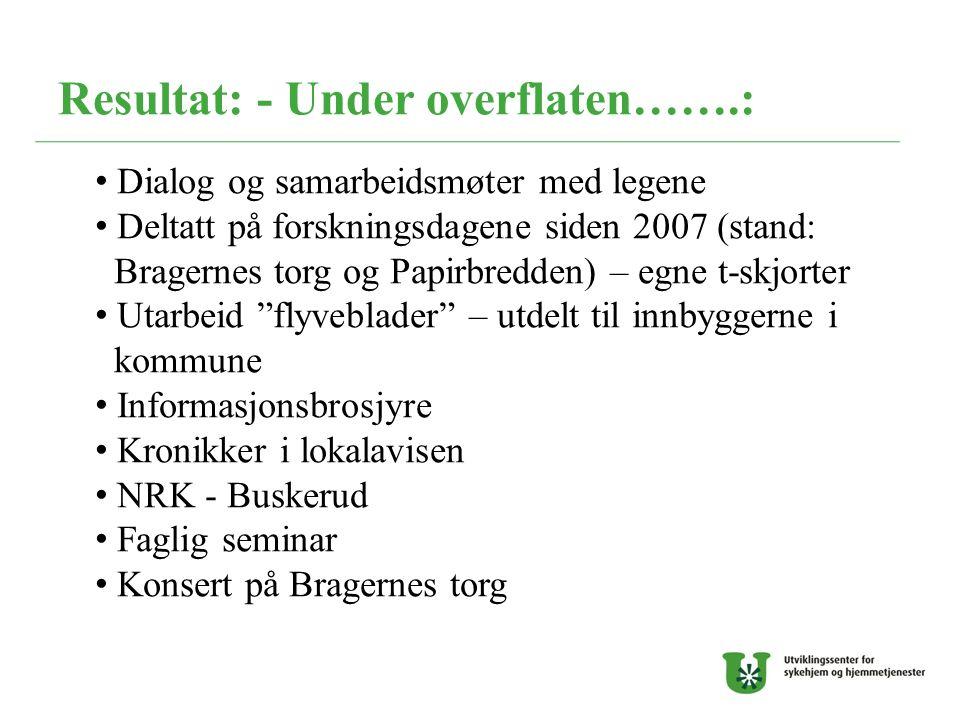 Resultat: - Under overflaten…….: Dialog og samarbeidsmøter med legene Deltatt på forskningsdagene siden 2007 (stand: Bragernes torg og Papirbredden) –