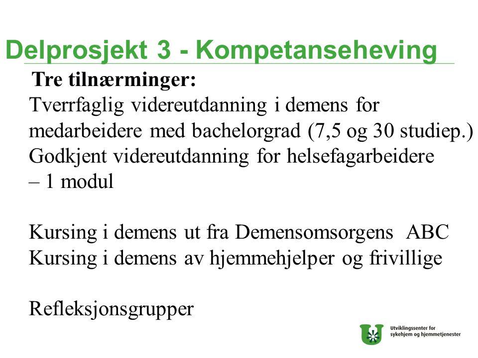 Delprosjekt 3 - Kompetanseheving Tre tilnærminger: Tverrfaglig videreutdanning i demens for medarbeidere med bachelorgrad (7,5 og 30 studiep.) Godkjen
