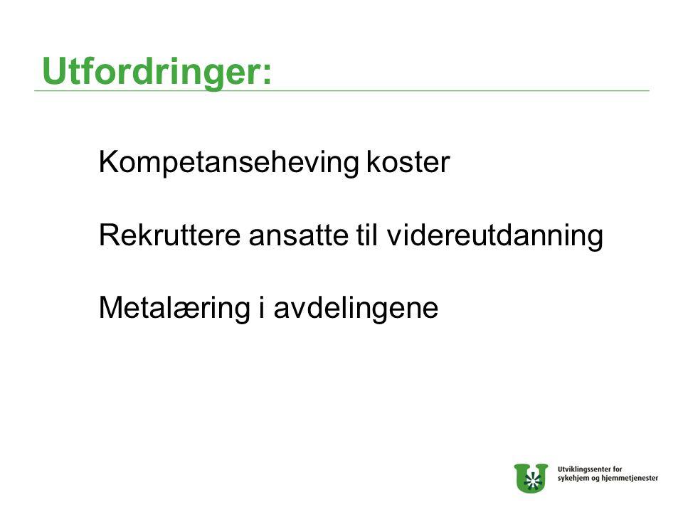 Utfordringer: Kompetanseheving koster Rekruttere ansatte til videreutdanning Metalæring i avdelingene
