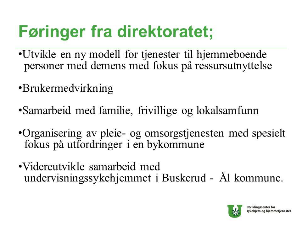 Føringer fra direktoratet; Utvikle en ny modell for tjenester til hjemmeboende personer med demens med fokus på ressursutnyttelse Brukermedvirkning Sa