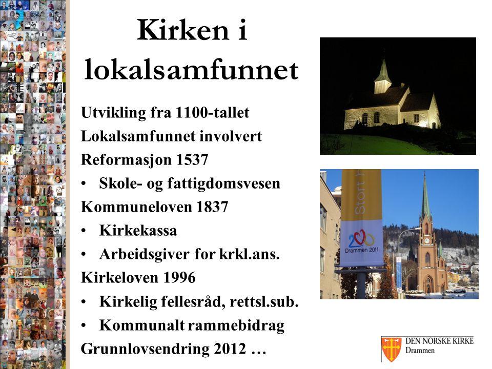 Kirken i lokalsamfunnet Utvikling fra 1100-tallet Lokalsamfunnet involvert Reformasjon 1537 Skole- og fattigdomsvesen Kommuneloven 1837 Kirkekassa Arbeidsgiver for krkl.ans.