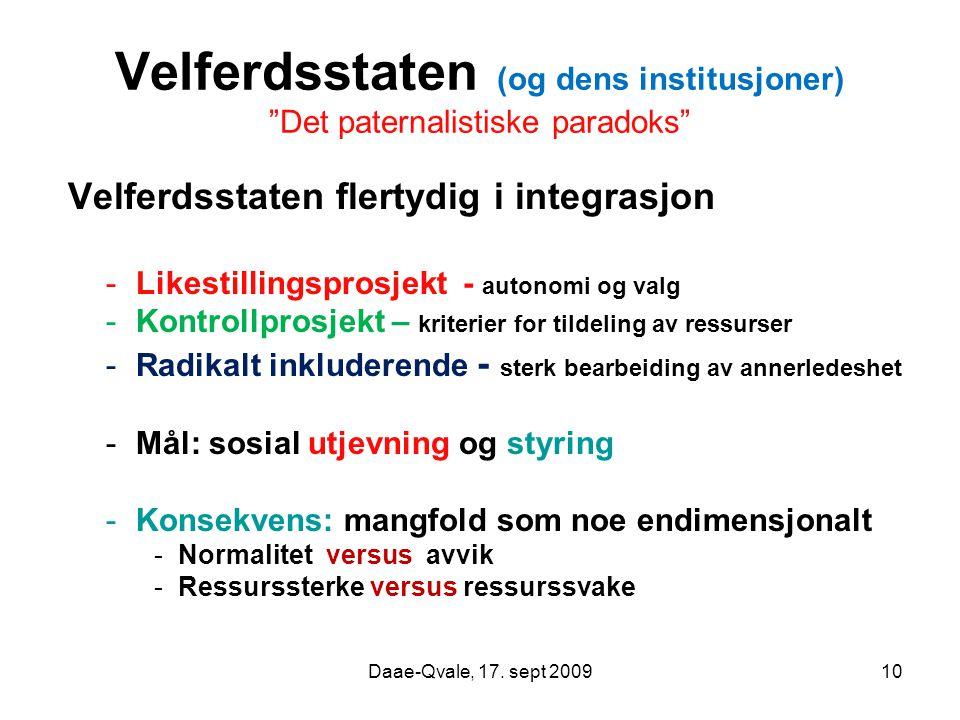 """10 Velferdsstaten (og dens institusjoner) """"Det paternalistiske paradoks"""" Velferdsstaten flertydig i integrasjon -Likestillingsprosjekt - autonomi og v"""