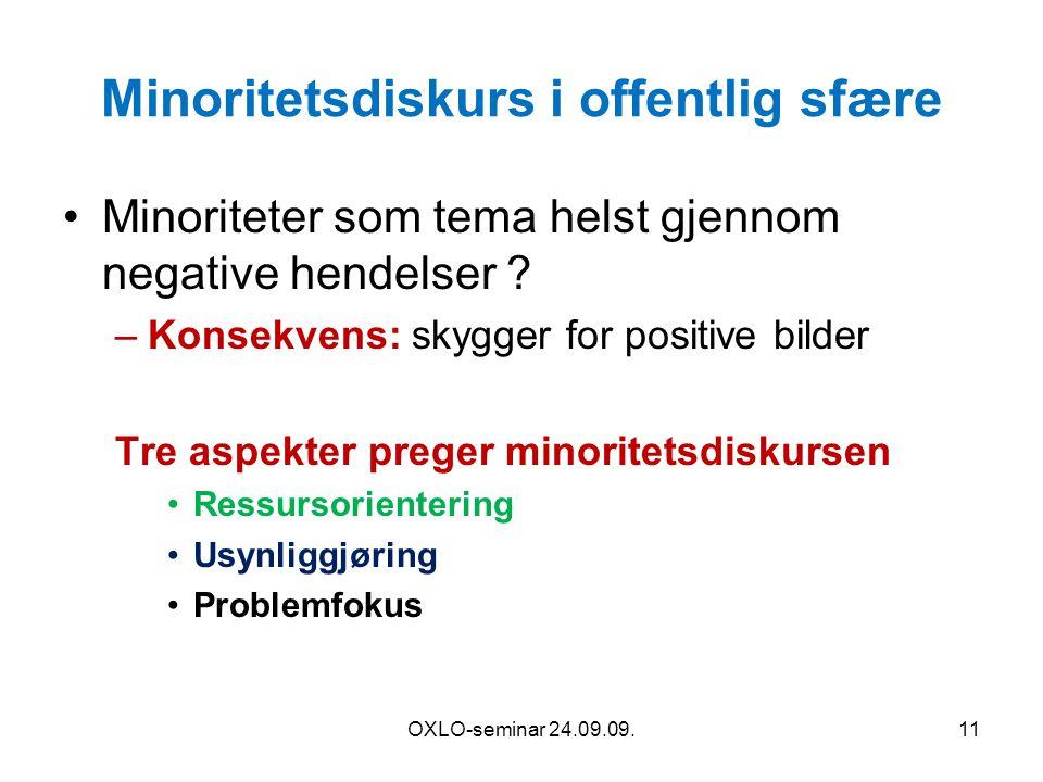 Minoritetsdiskurs i offentlig sfære Minoriteter som tema helst gjennom negative hendelser ? –Konsekvens: skygger for positive bilder Tre aspekter preg