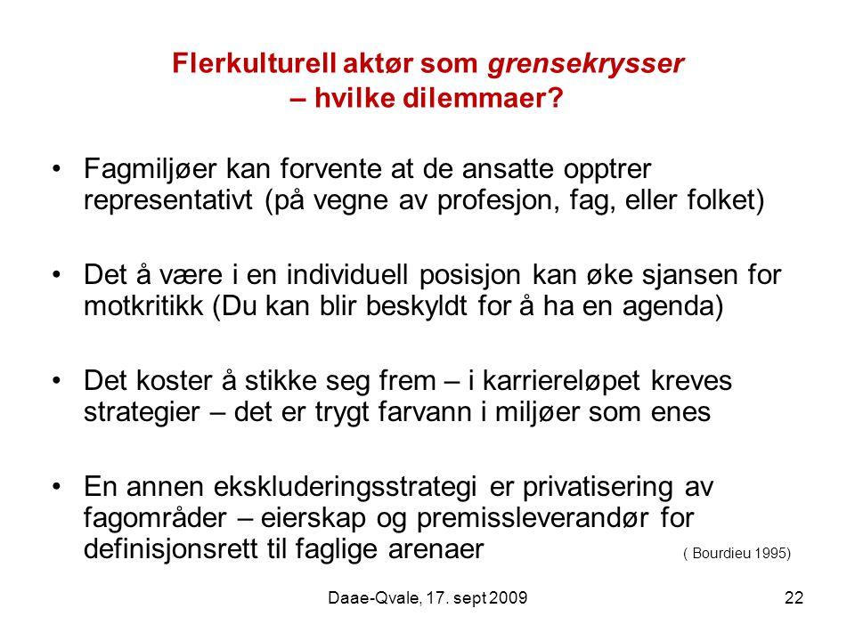Daae-Qvale, 17. sept 200922 Flerkulturell aktør som grensekrysser – hvilke dilemmaer? Fagmiljøer kan forvente at de ansatte opptrer representativt (på