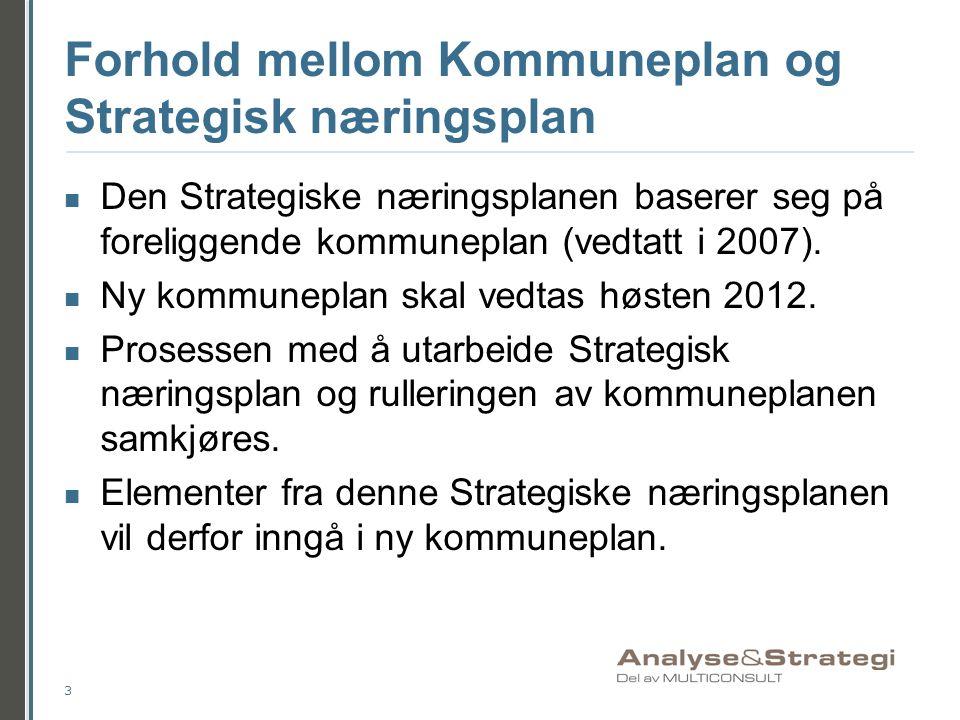 Forhold mellom Kommuneplan og Strategisk næringsplan Den Strategiske næringsplanen baserer seg på foreliggende kommuneplan (vedtatt i 2007). Ny kommun