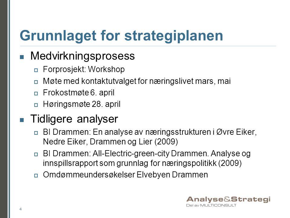 Grunnlaget for strategiplanen Medvirkningsprosess  Forprosjekt: Workshop  Møte med kontaktutvalget for næringslivet mars, mai  Frokostmøte 6. april