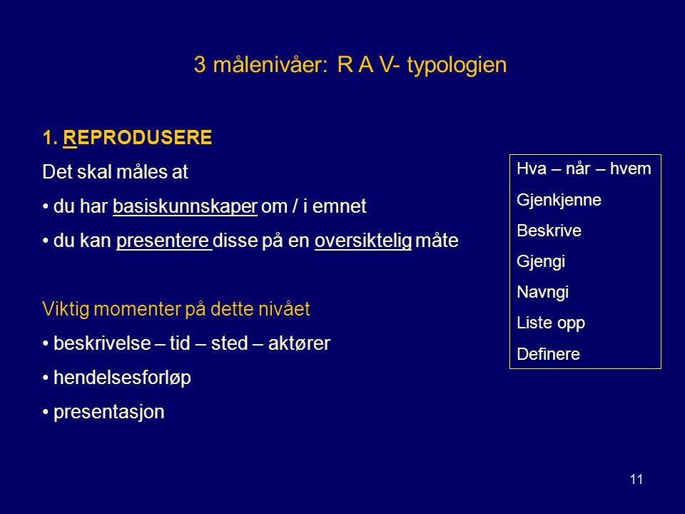 11 3 målenivåer: R A V- typologien 1. REPRODUSERE Det skal måles at du har basiskunnskaper om / i emnet du kan presentere disse på en oversiktelig måt
