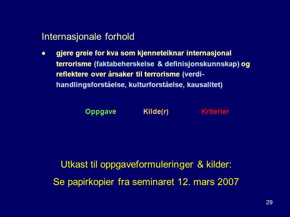 29 Internasjonale forhold  gjere greie for kva som kjenneteiknar internasjonal terrorisme (faktabeherskelse & definisjonskunnskap) og reflektere over