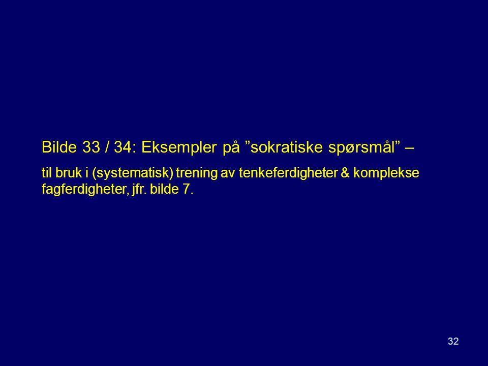 """32 Bilde 33 / 34: Eksempler på """"sokratiske spørsmål"""" – til bruk i (systematisk) trening av tenkeferdigheter & komplekse fagferdigheter, jfr. bilde 7."""