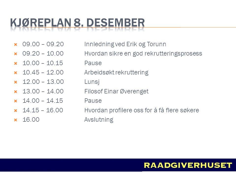  09.00 – 09.20 Innledning ved Erik og Torunn  09.20 – 10.00 Hvordan sikre en god rekrutteringsprosess  10.00 – 10.15 Pause  10.45 – 12.00 Arbeidsø