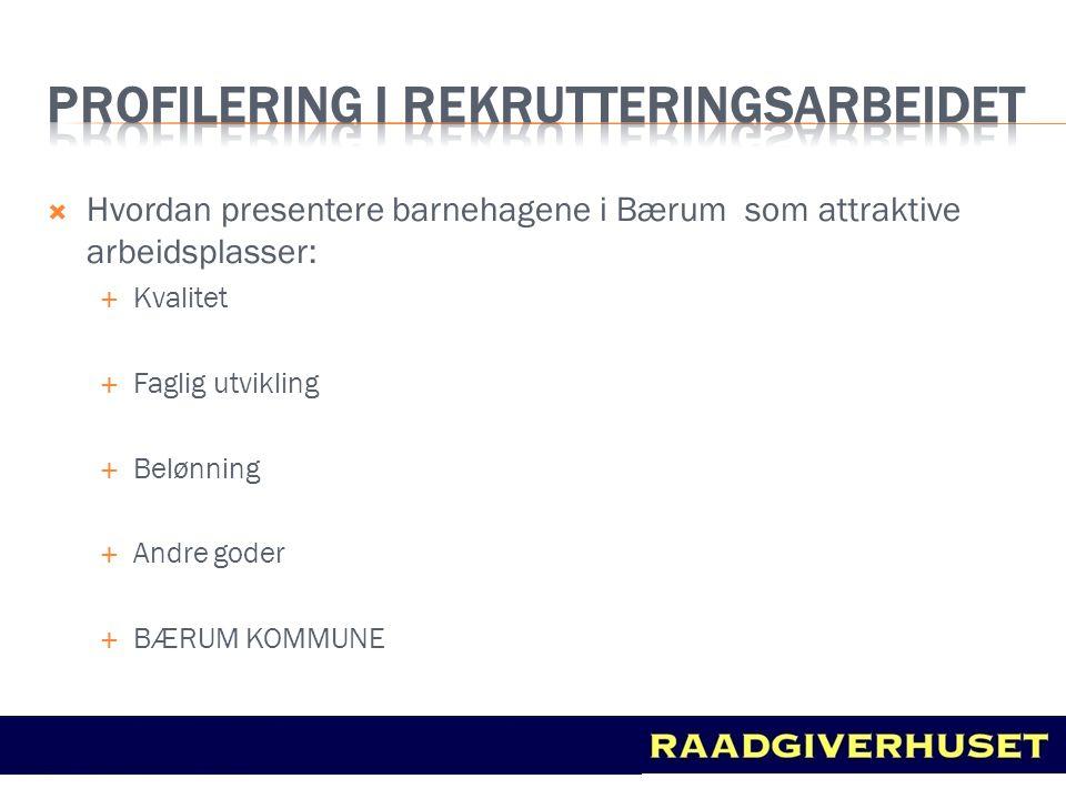  Hvordan presentere barnehagene i Bærum som attraktive arbeidsplasser:  Kvalitet  Faglig utvikling  Belønning  Andre goder  BÆRUM KOMMUNE