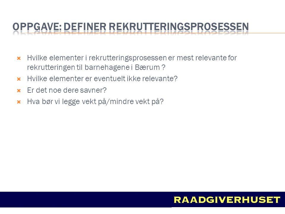  Hvilke elementer i rekrutteringsprosessen er mest relevante for rekrutteringen til barnehagene i Bærum ?  Hvilke elementer er eventuelt ikke releva