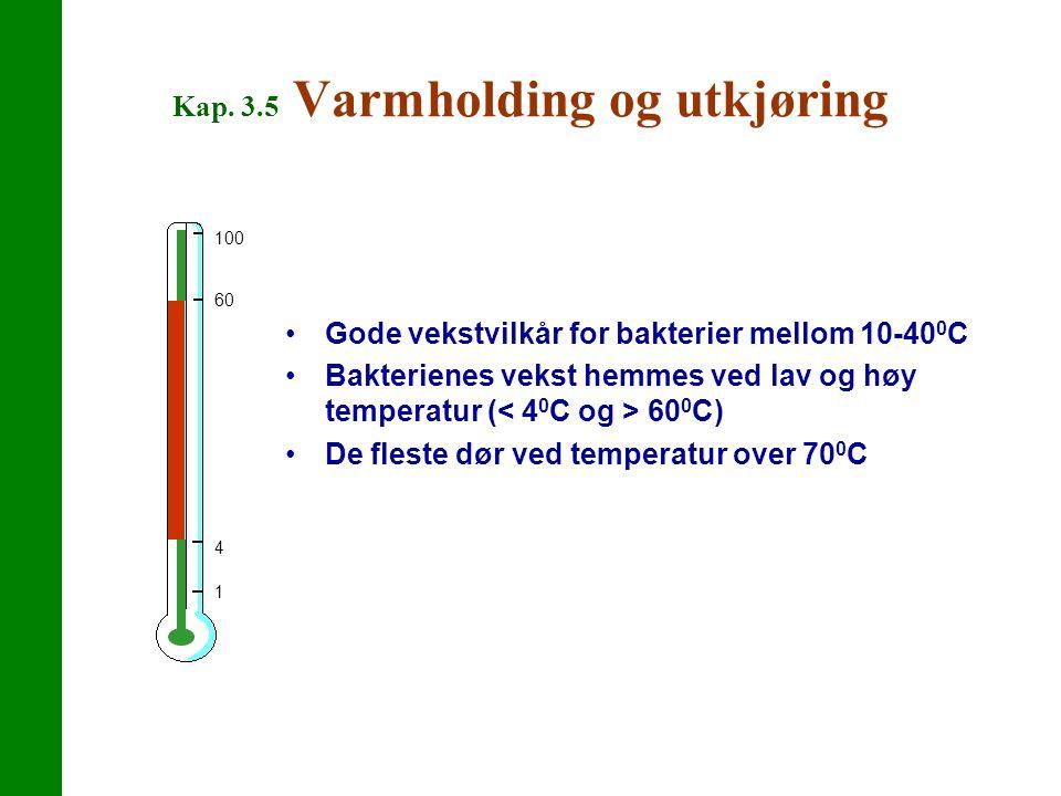 Kap. 3.5 Varmholding og utkjøring Gode vekstvilkår for bakterier mellom 10-40 0 C Bakterienes vekst hemmes ved lav og høy temperatur ( 60 0 C) De fles
