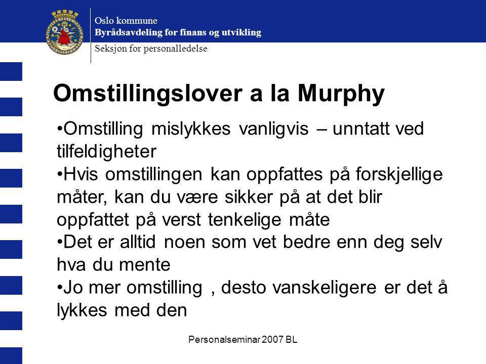 Personalseminar 2007 BL Oslo kommune Byrådsavdeling for finans og utvikling Seksjon for personalledelse Omstillingslover a la Murphy Omstilling mislyk