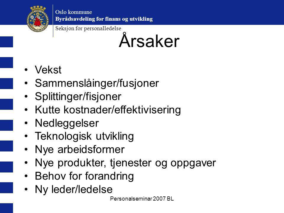 Personalseminar 2007 BL Oslo kommune Byrådsavdeling for finans og utvikling Seksjon for personalledelse Årsaker Vekst Sammenslåinger/fusjoner Splittin
