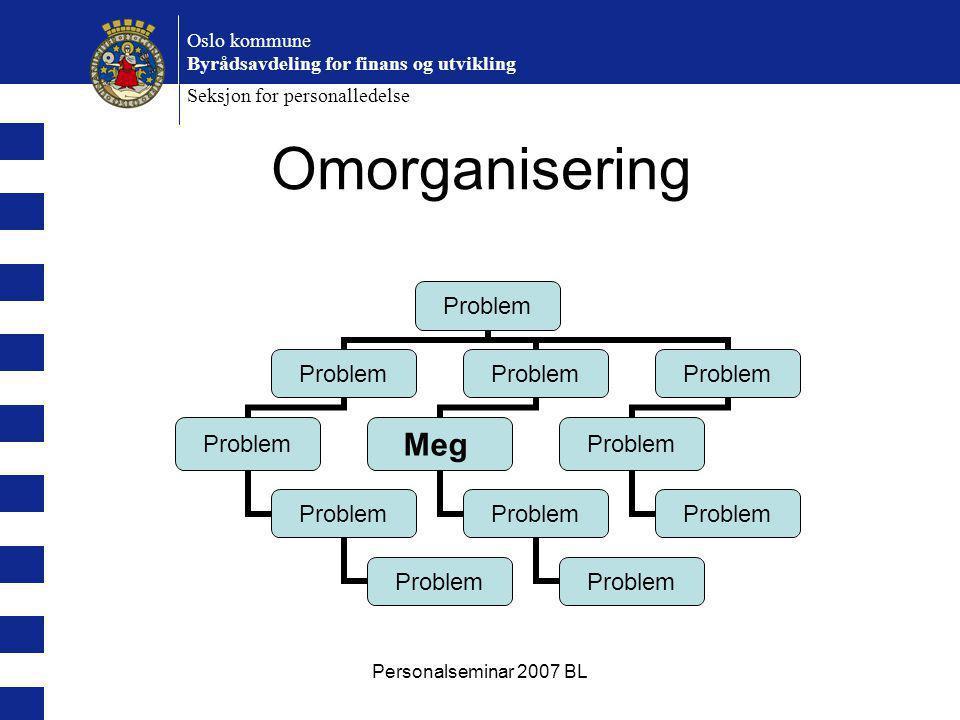 Personalseminar 2007 BL Oslo kommune Byrådsavdeling for finans og utvikling Seksjon for personalledelse Problem Meg Problem Omorganisering