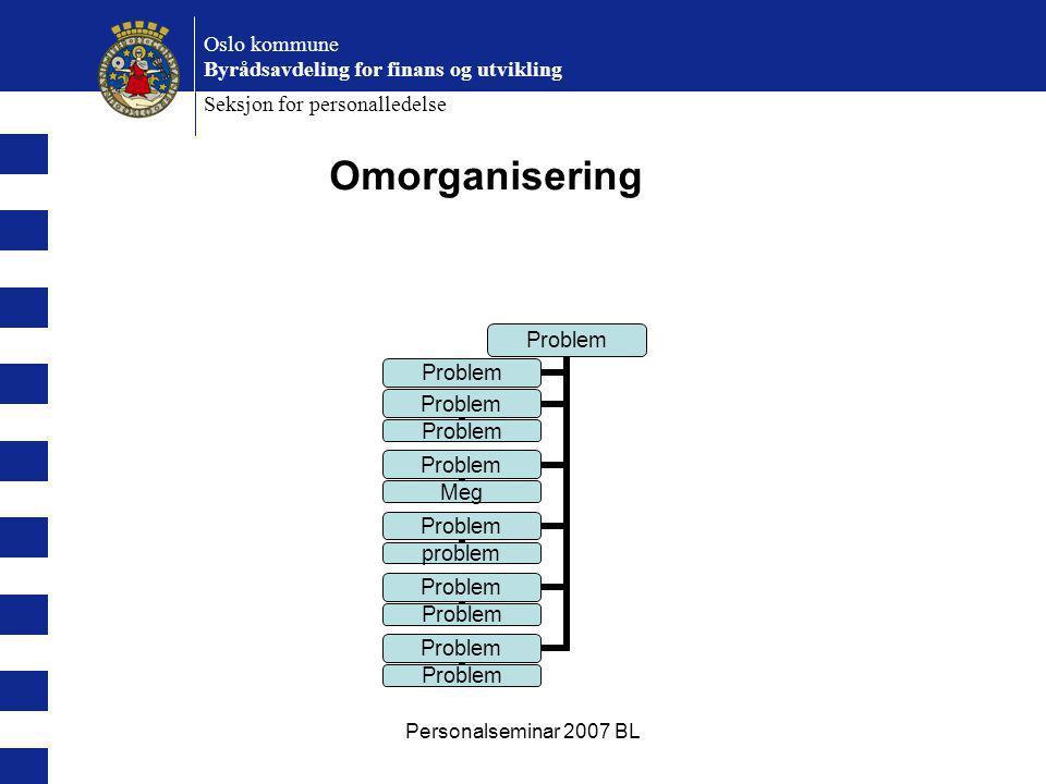Personalseminar 2007 BL Oslo kommune Byrådsavdeling for finans og utvikling Seksjon for personalledelse Problem Meg Problem problem Problem Omorganise