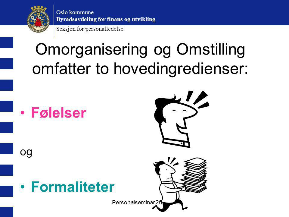 Personalseminar 2007 BL Oslo kommune Byrådsavdeling for finans og utvikling Seksjon for personalledelse Følelser og Formaliteter Omorganisering og Omstilling omfatter to hovedingredienser: