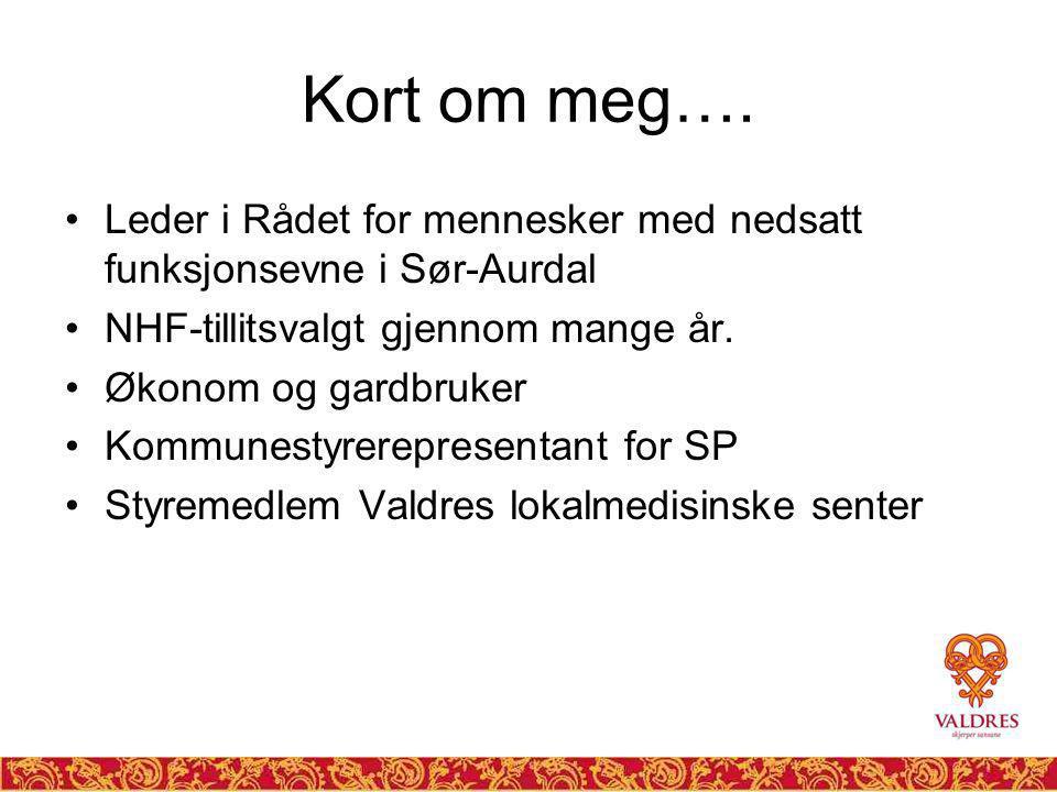 Dagens tema Samhandlingsreformen og interkommunalt samarbeid Valdres Lokalmedisinske senter (VLMS) – praktisk eksempel.