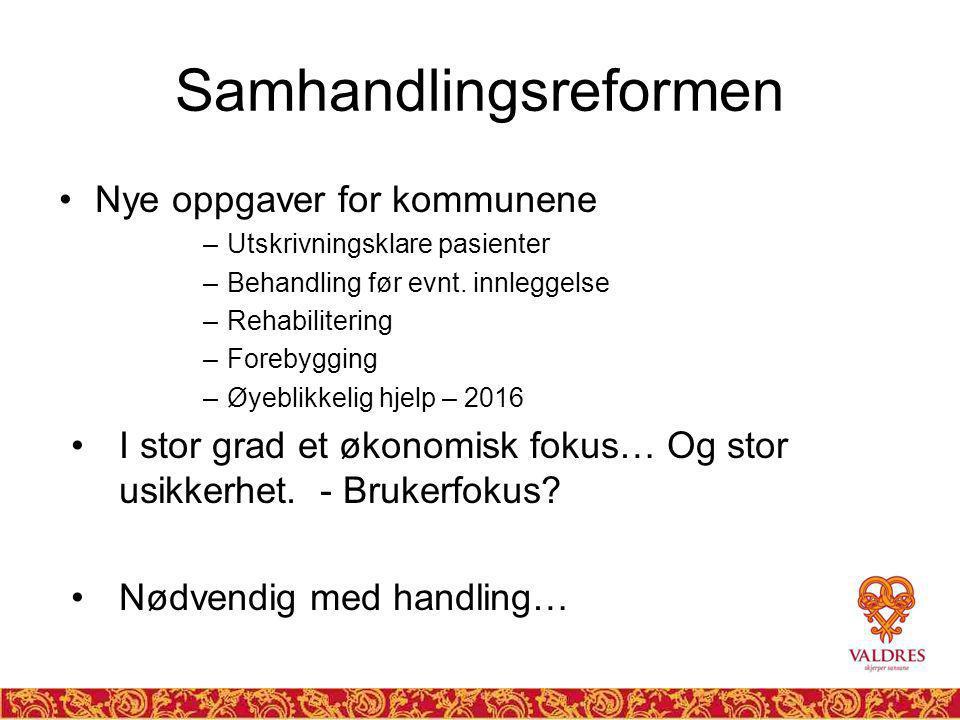 Samhandlingsreformen Nye oppgaver for kommunene –Utskrivningsklare pasienter –Behandling før evnt.