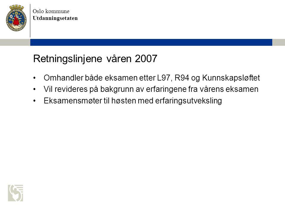 Oslo kommune Utdanningsetaten Retningslinjene våren 2007 Omhandler både eksamen etter L97, R94 og Kunnskapsløftet Vil revideres på bakgrunn av erfaringene fra vårens eksamen Eksamensmøter til høsten med erfaringsutveksling
