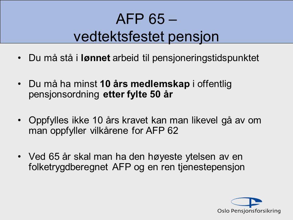 AFP 65 – vedtektsfestet pensjon Du må stå i lønnet arbeid til pensjoneringstidspunktet Du må ha minst 10 års medlemskap i offentlig pensjonsordning etter fylte 50 år Oppfylles ikke 10 års kravet kan man likevel gå av om man oppfyller vilkårene for AFP 62 Ved 65 år skal man ha den høyeste ytelsen av en folketrygdberegnet AFP og en ren tjenestepensjon